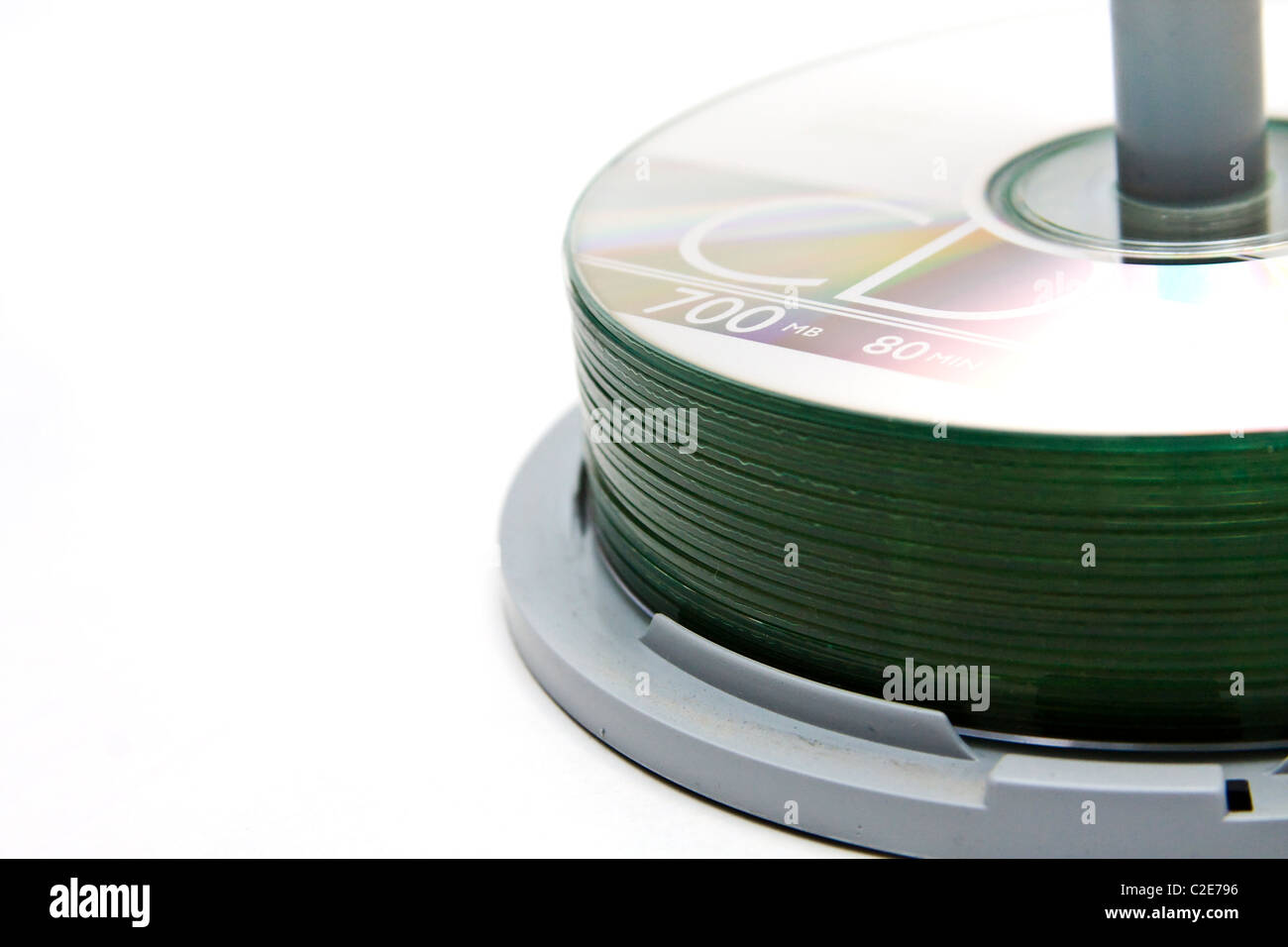 A spindle of recordable compact discs - Stock Image