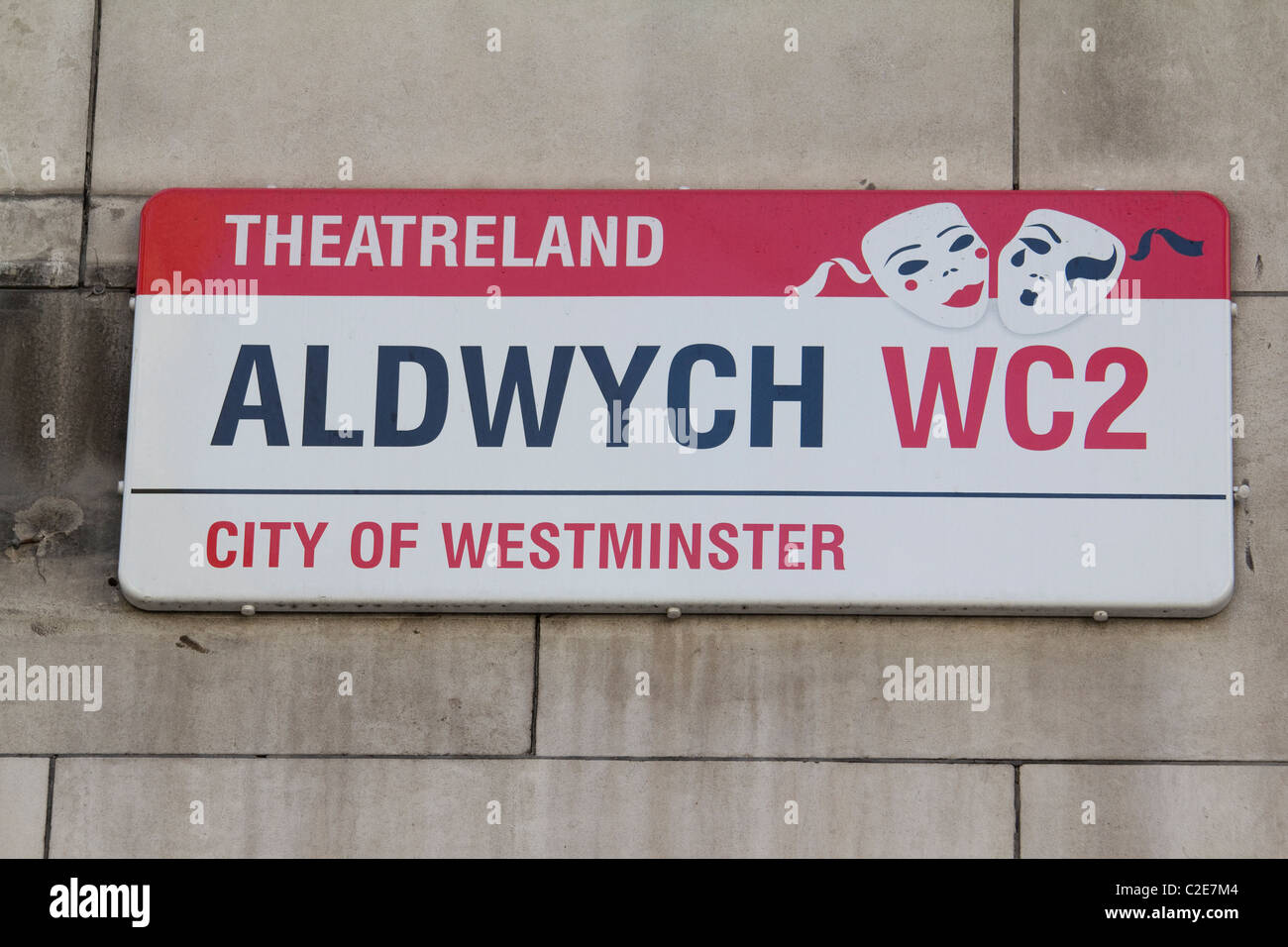 aldwych theatreland street sign London - Stock Image