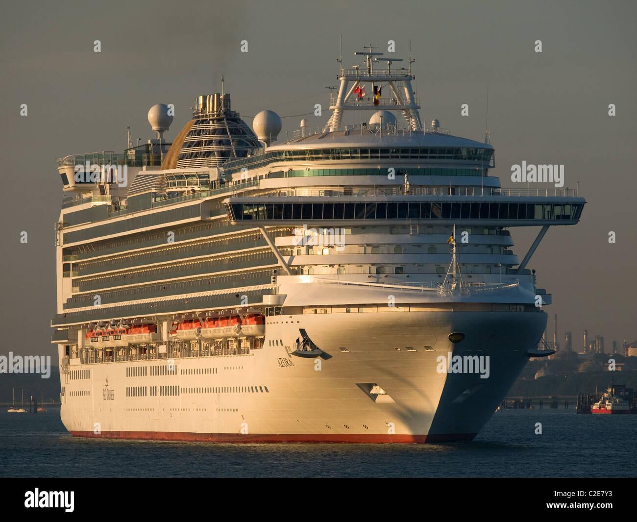 P&O cruise ship Azura arriving early morning at Southampton Hampshire England UK - Stock Image