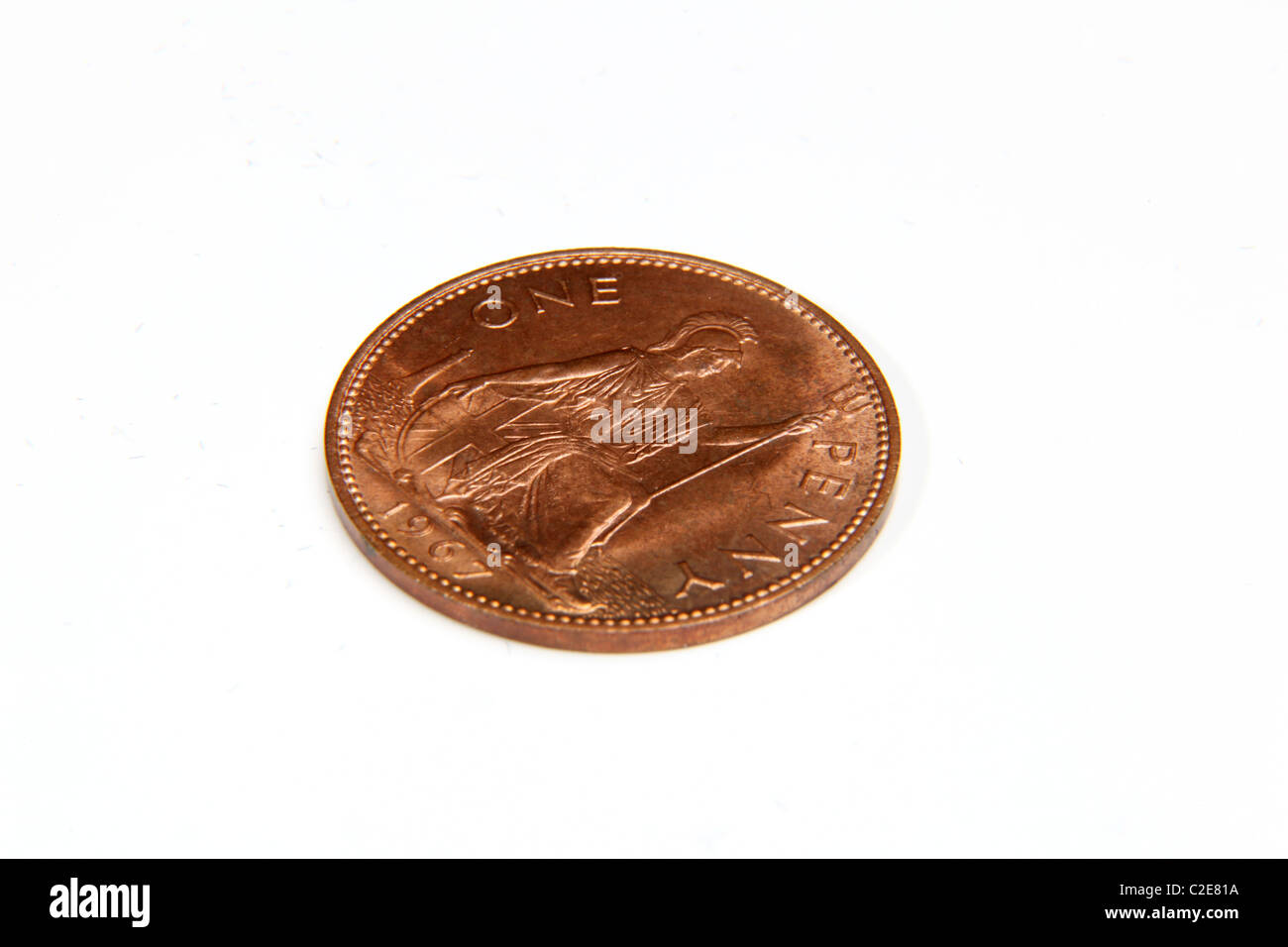 1d penny old coin, pre-decimal UK currency. - Stock Image