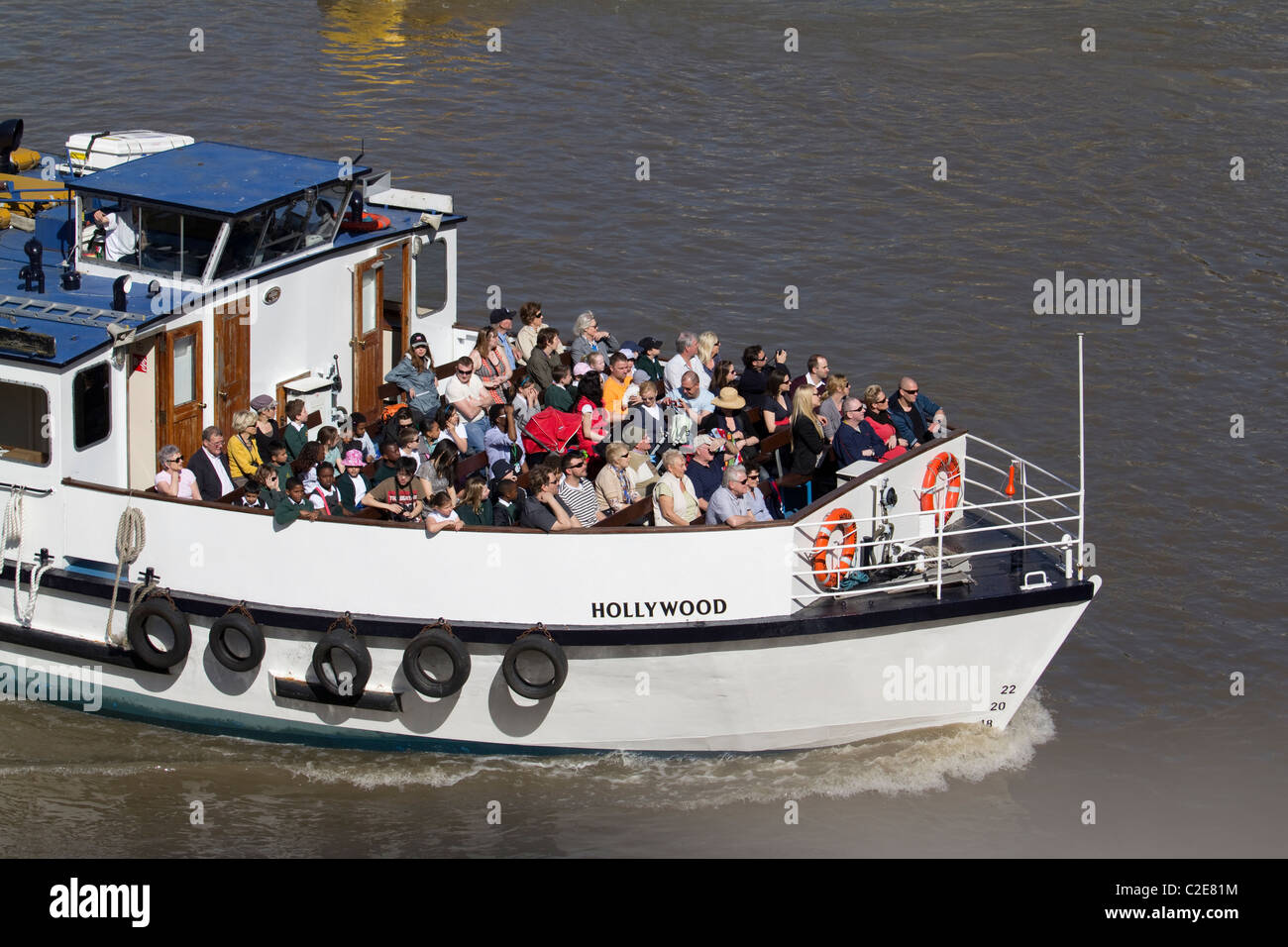the boat Hollywood takes tourists on river thames cruise - Stock Image