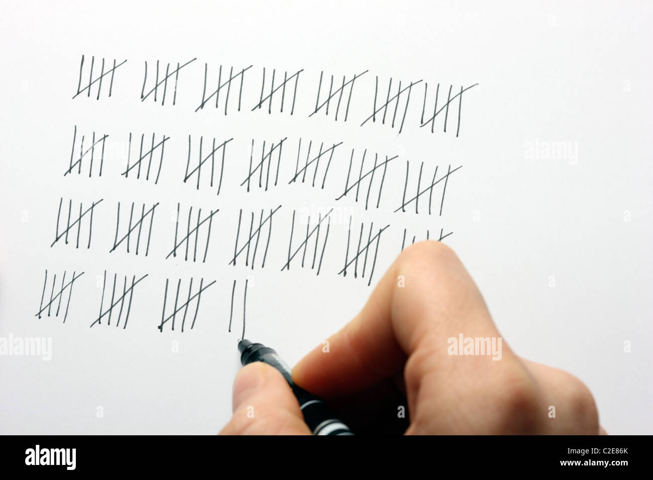 Tally clerk, counting things, check list. - Stock Image