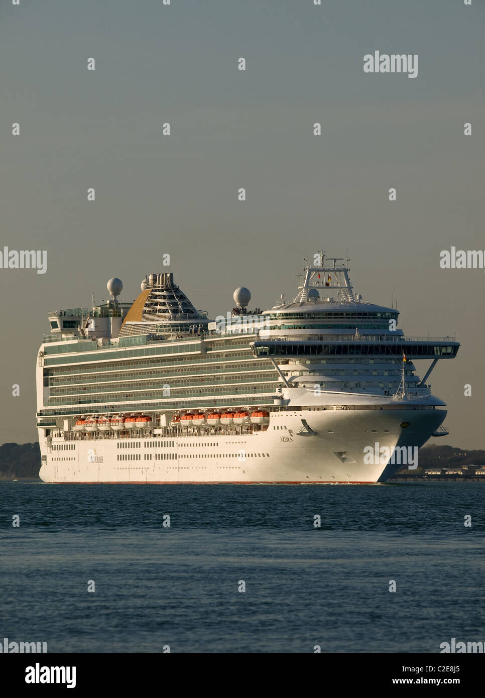 P&O cruise ship Azura leaving Southampton Hampshire England UK - Stock Image