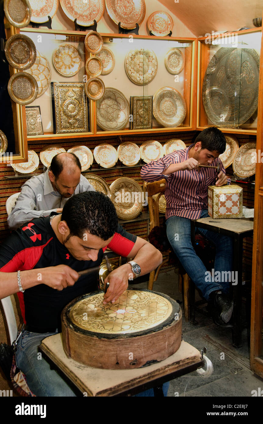 Damascus Syria Bazaar tin copper brass Souq market shop - Stock Image