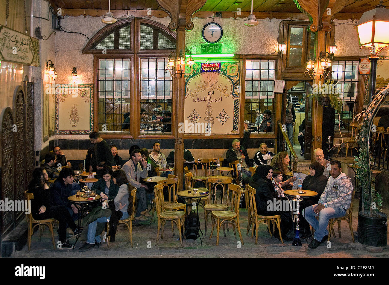 Old damascus syria water pipe cafe tea coffee house bazaar for The damascus house