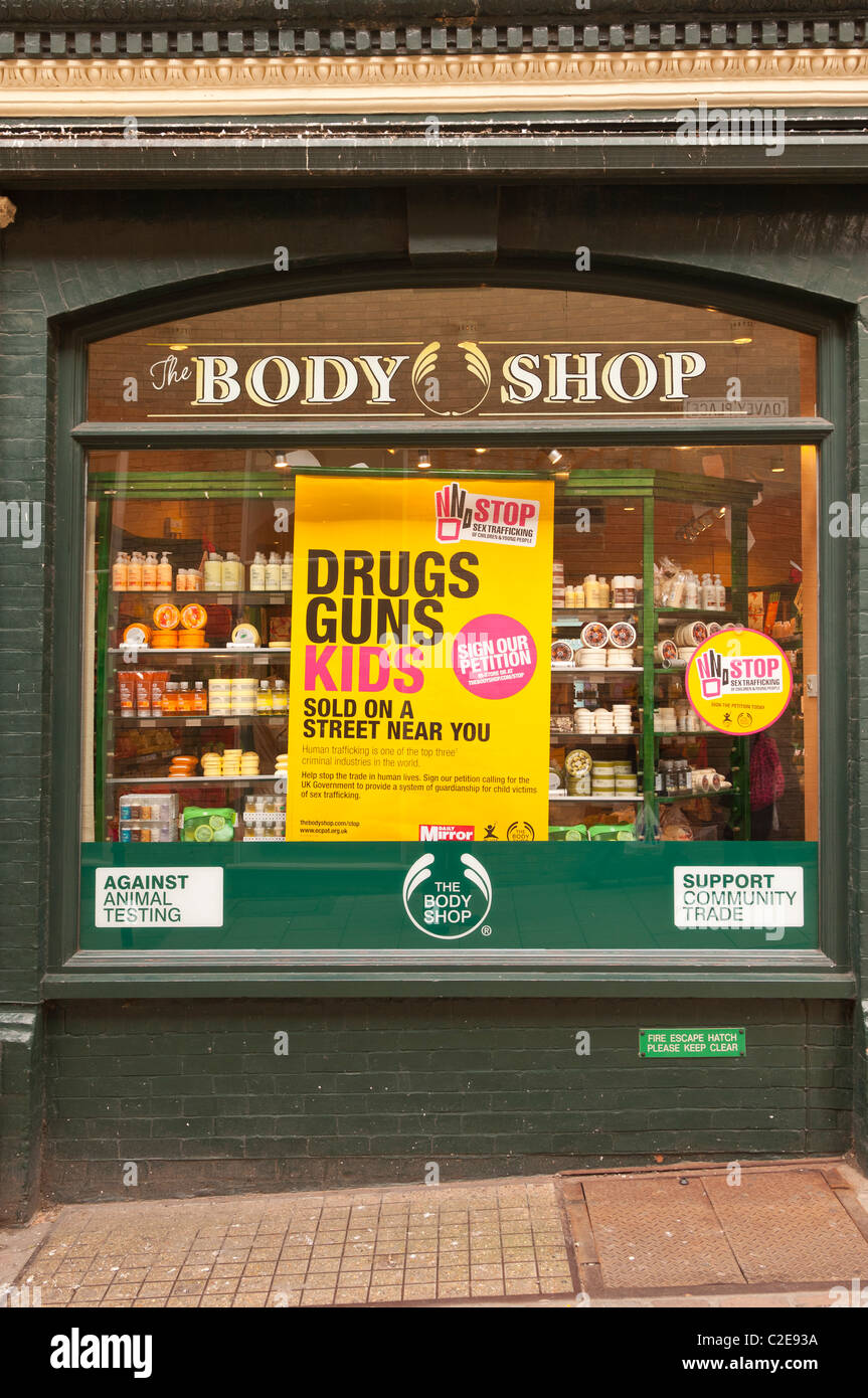 The Body shop store with their anti drugs and guns campaign in Norwich , Norfolk , England , Britain , Uk - Stock Image