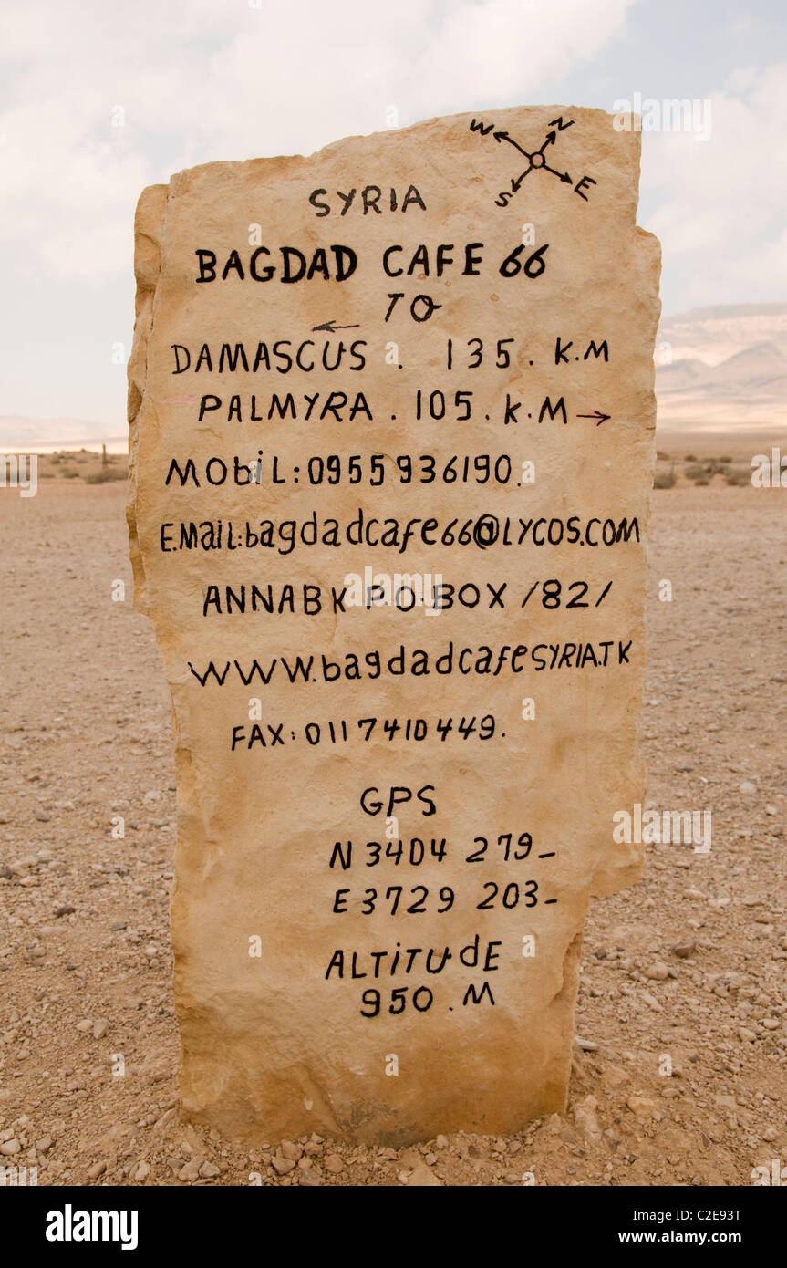 Bagdad cafe on desert road between Damascus Palmyra Syria and Bagdad Iraq - Stock Image