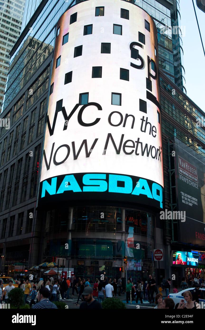 NASDAQ torus building advertisement on Time Square, Manhattan, New York City, USA Stock Photo