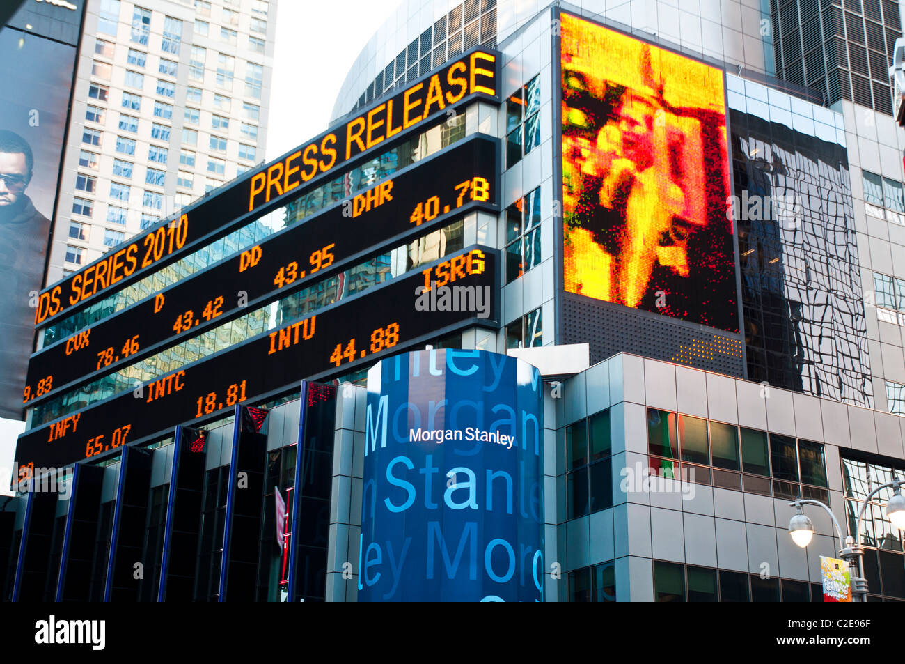 Morgan Stanley office at Times Square with live electronic
