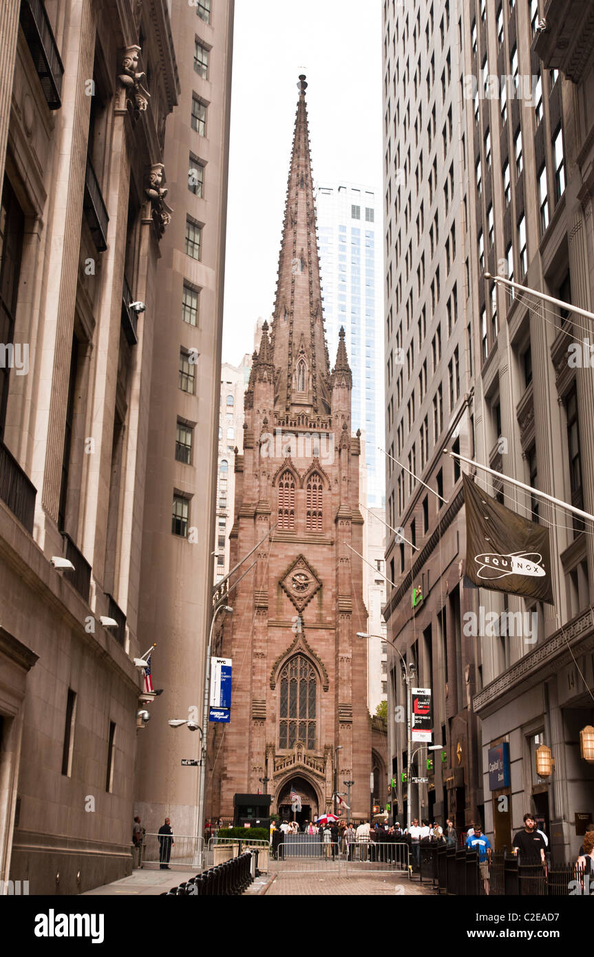 gothic revival style trinity church at broadway wall street lower