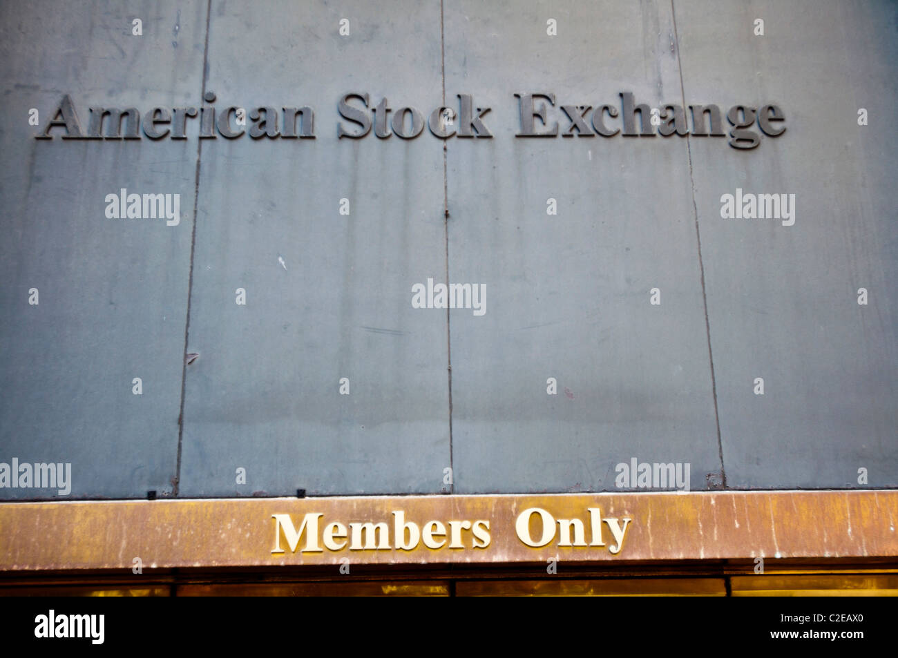 American Stock Exchange sign, Members Only, Financial District, New York City, USA - Stock Image