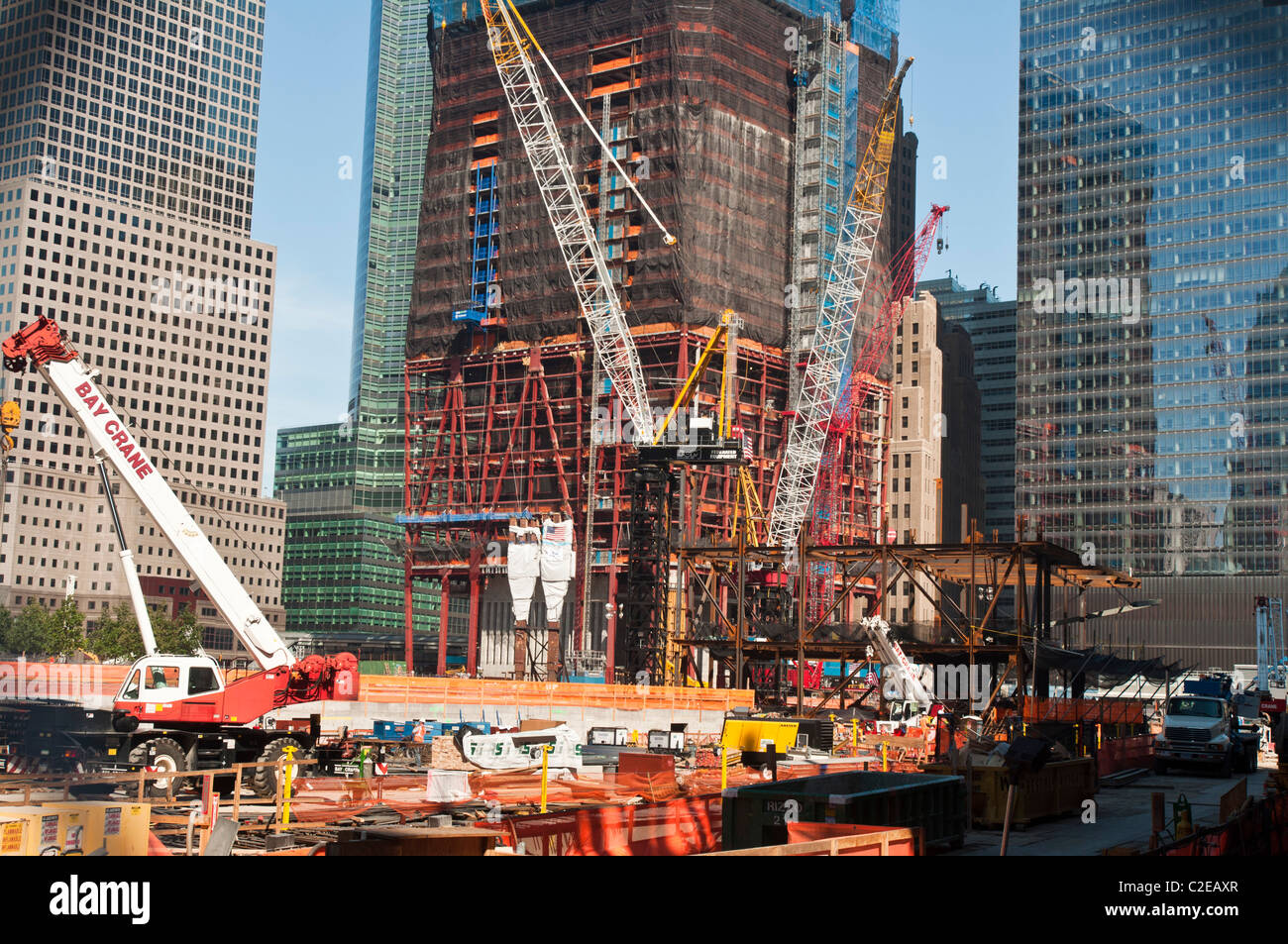 Ground Zero, New Freedom Tower construction site with ...
