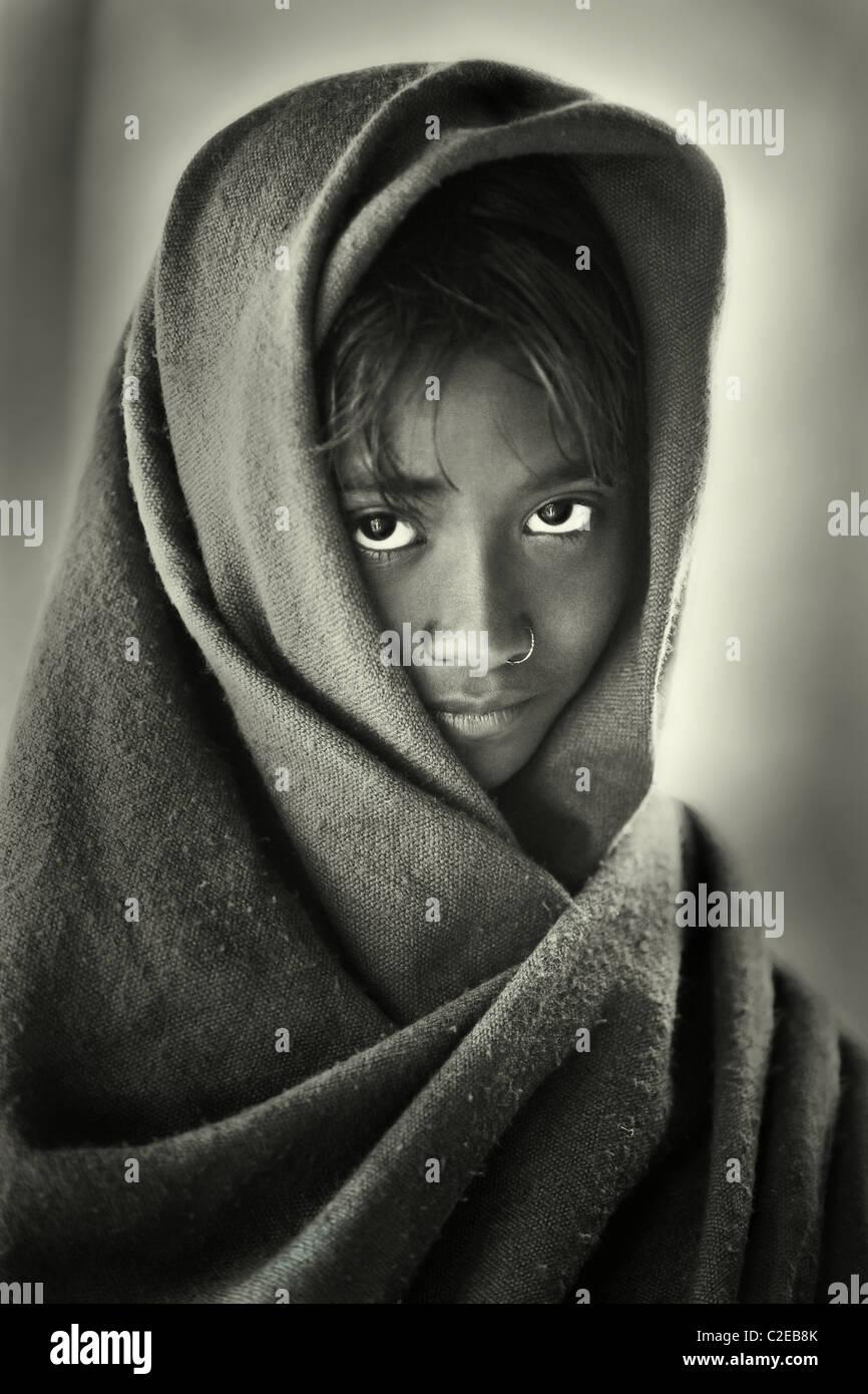 Portrait of a Bangladeshi girl monochrome - Stock Image