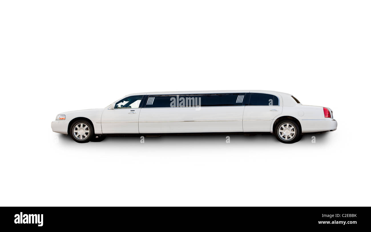 An isolated limousine on white - Stock Image
