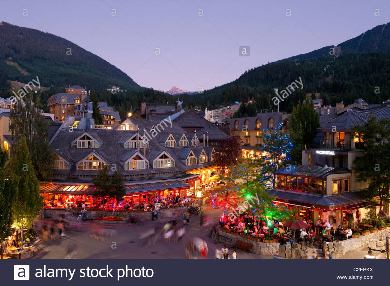 Whistler Village in the Summer at Dusk - Stock Image