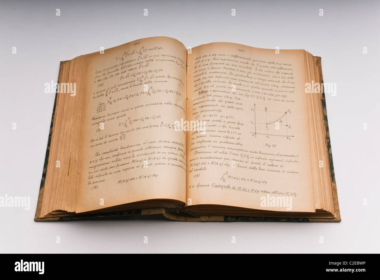A wide open old hand-written book of physics with yellowed pages and calligraphic  typeface - Stock Image