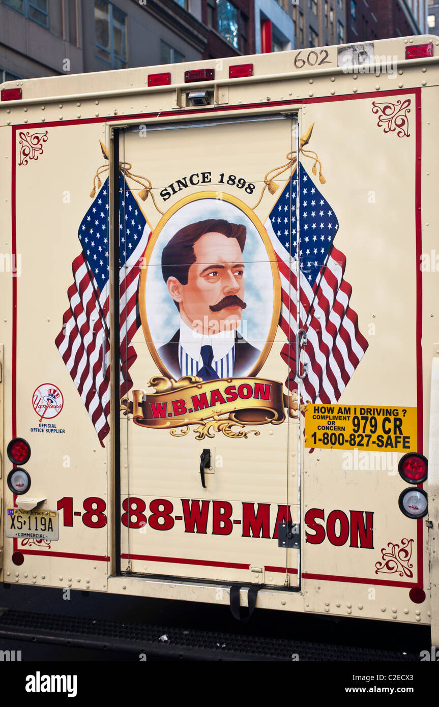 Beau Back Of W.B. Mason Office Supplies, Furnitures, Printing Delivery Truck  With American Flag,