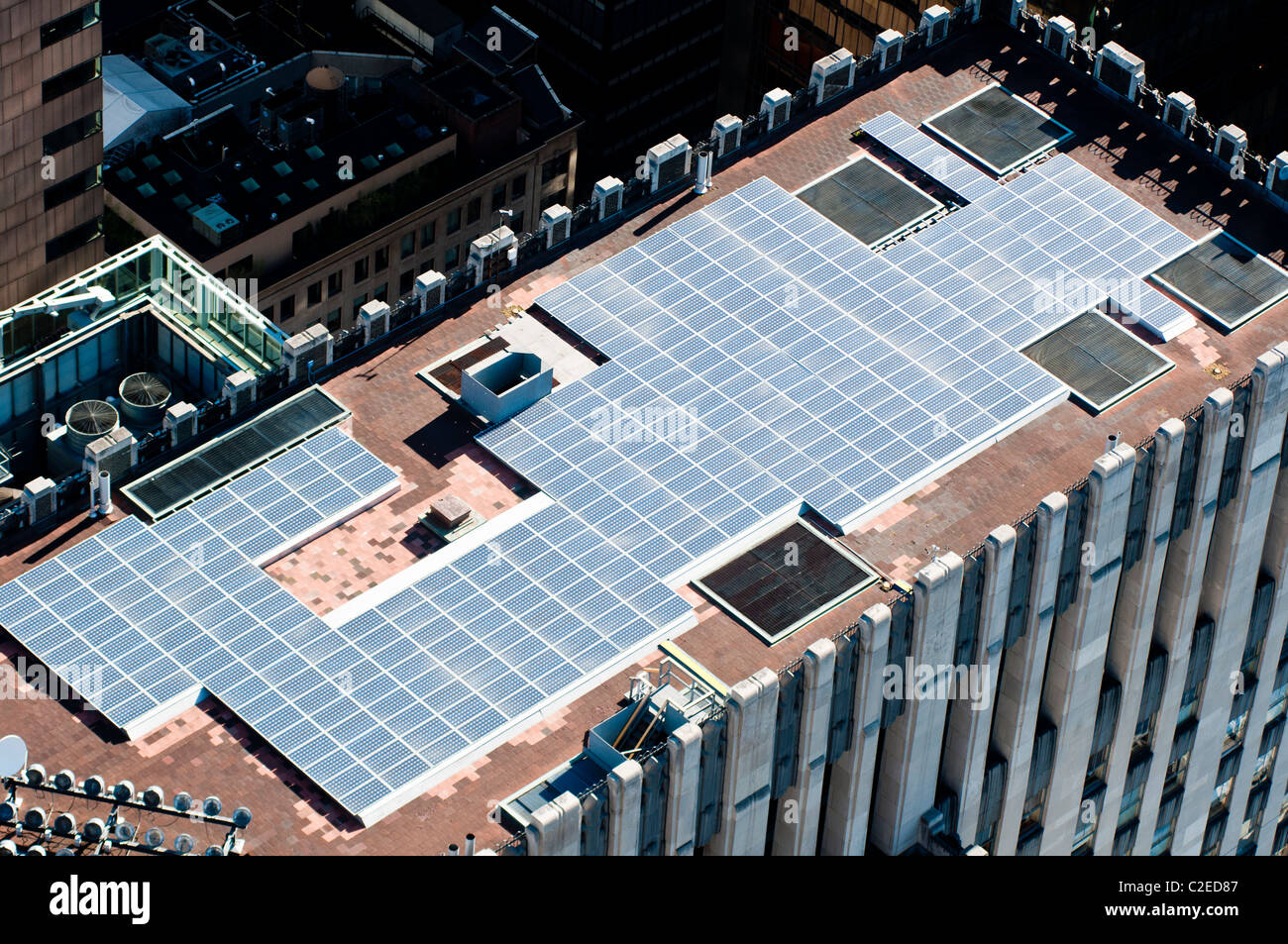 Aerial view of solar panels on the top of Manhattan building, New York City, USA, renewable energy, solar cell, - Stock Image