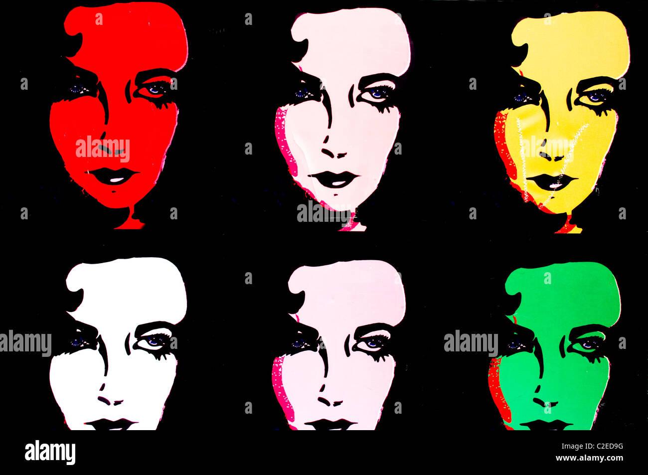 Images of Elizabeth Taylor portrayed in Andy Worhol pop art style. It is a street art image found in Amman, Jordan. - Stock Image