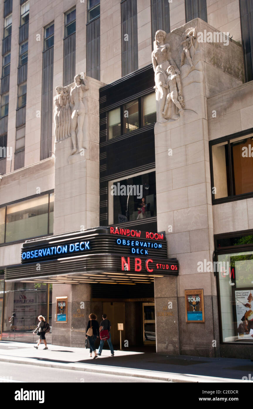 Entrance to NBC Studios, Top of The Rock Observation Deck and Rainbow Room historic restaurant, Rockefeller Center, - Stock Image