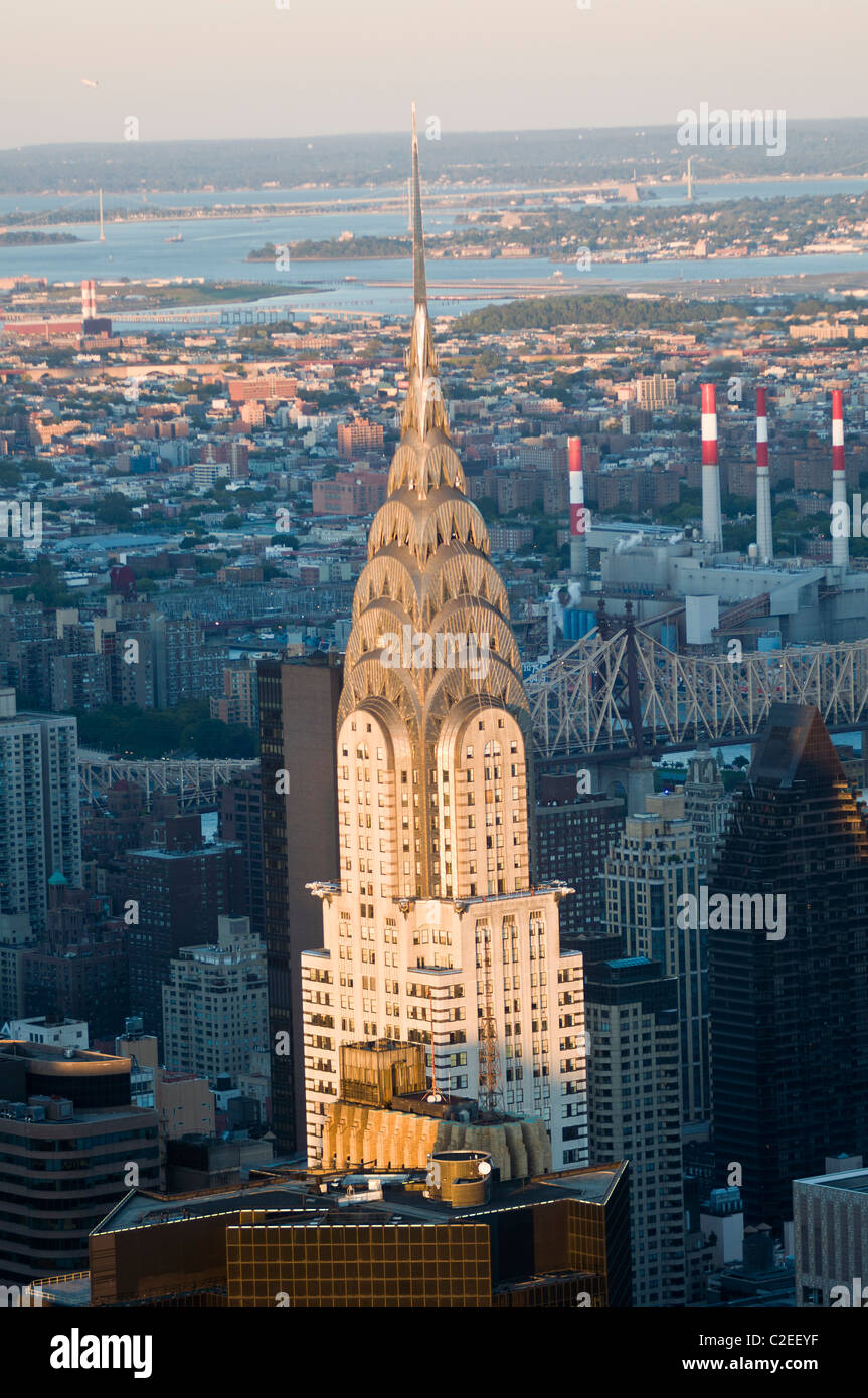 Chrysler building during sunset seen from Empire State building Observation Desk, Manhattan, New York City, USA, - Stock Image