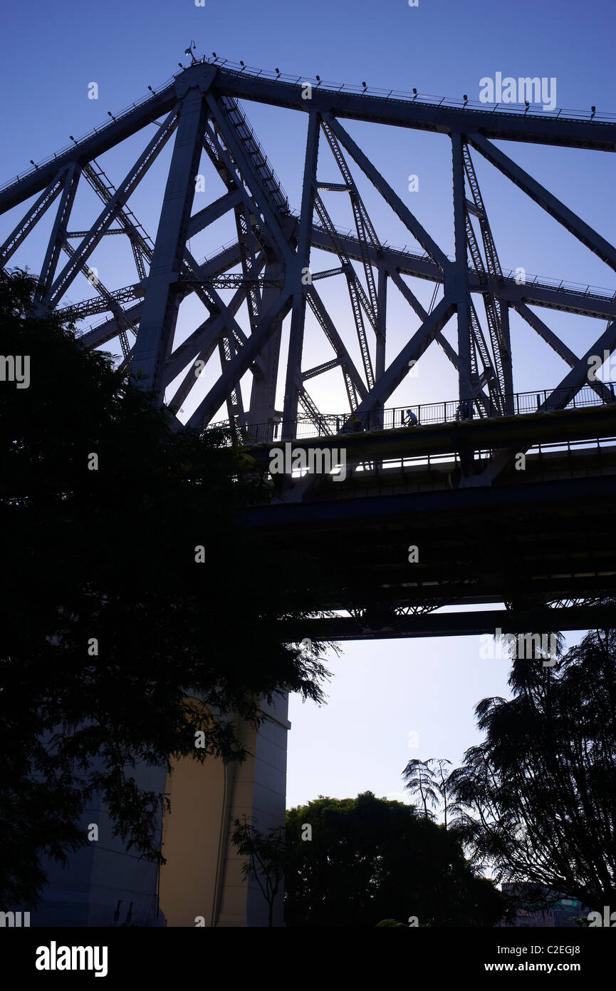 Cyclist on Story Bridge Brisbane Australia - Stock Image