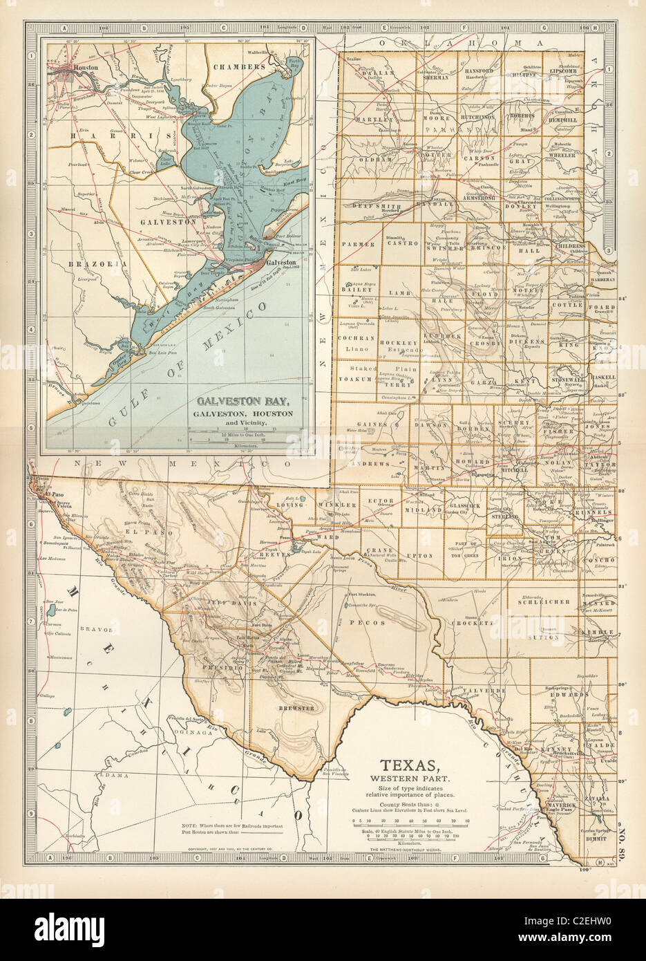 Map Of Western Texas.Map Of Western Texas With Galveston Stock Photo 35971404 Alamy