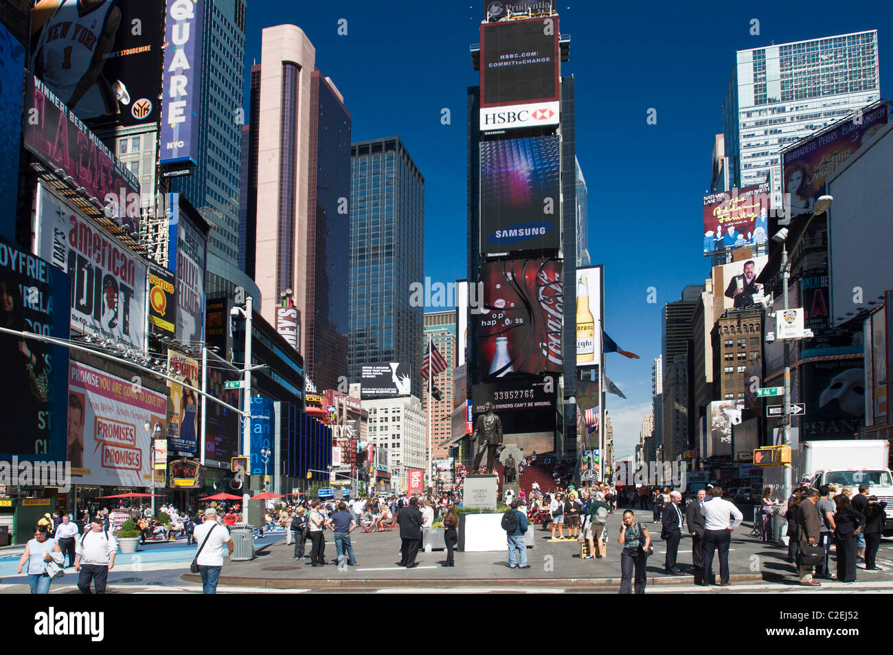Northern side Two Times Square electronic billboard building with blue sky background, Manhattan, New York City, - Stock Image