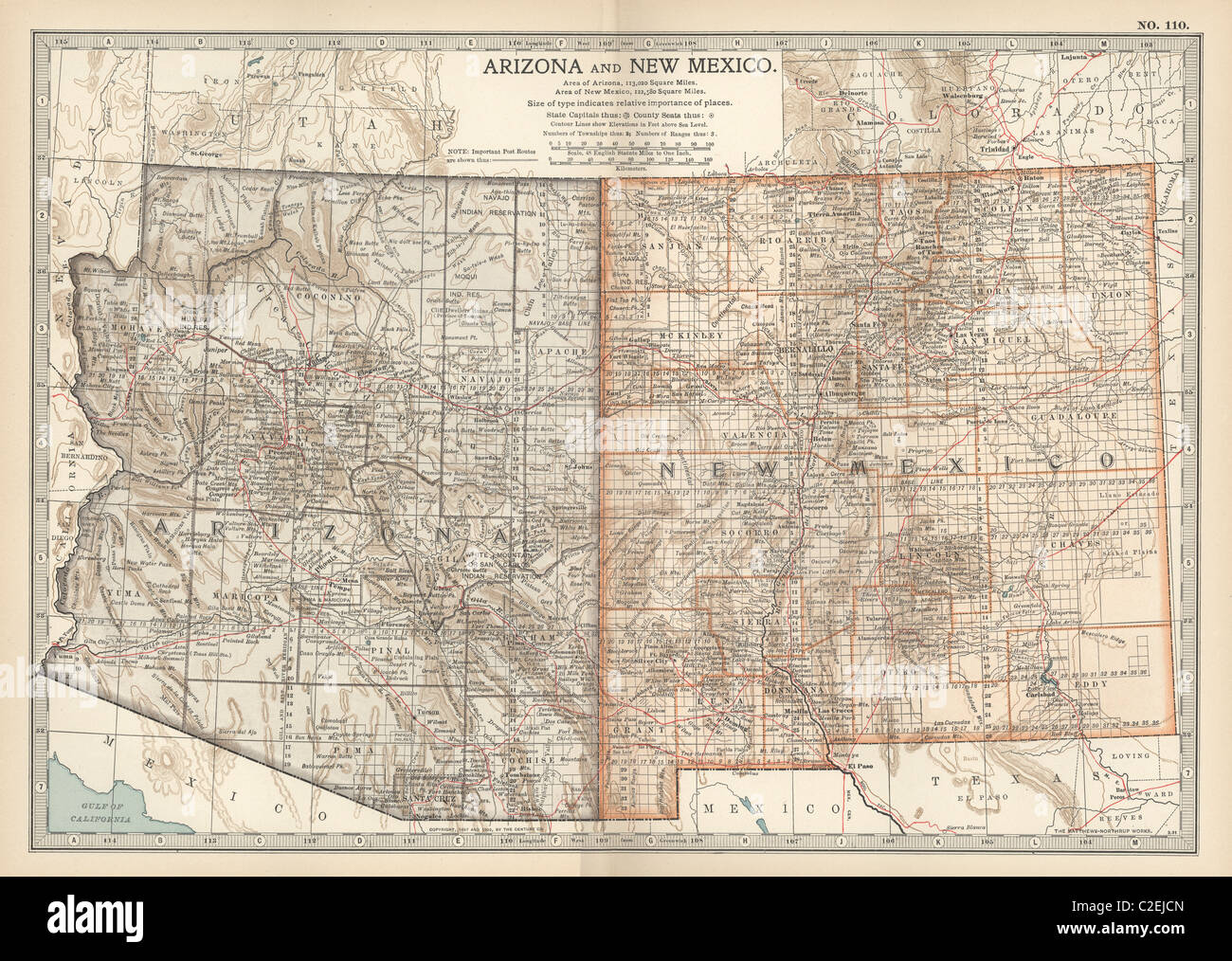 Map of Arizona and New Mexico Stock Photo: 35971845 - Alamy