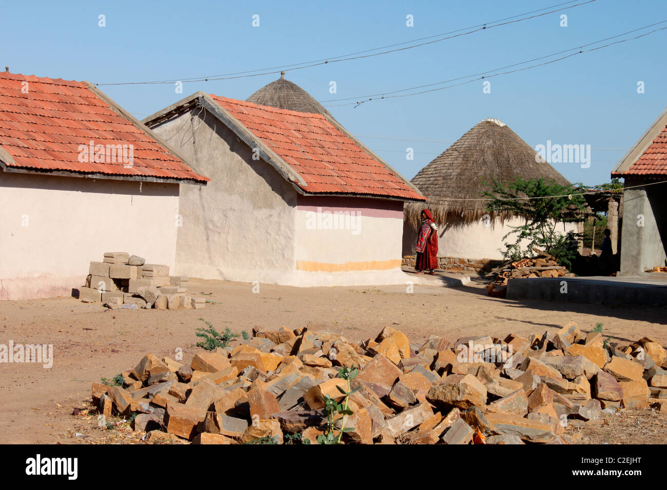 A view of village huts in Gujarat, India - Stock Image