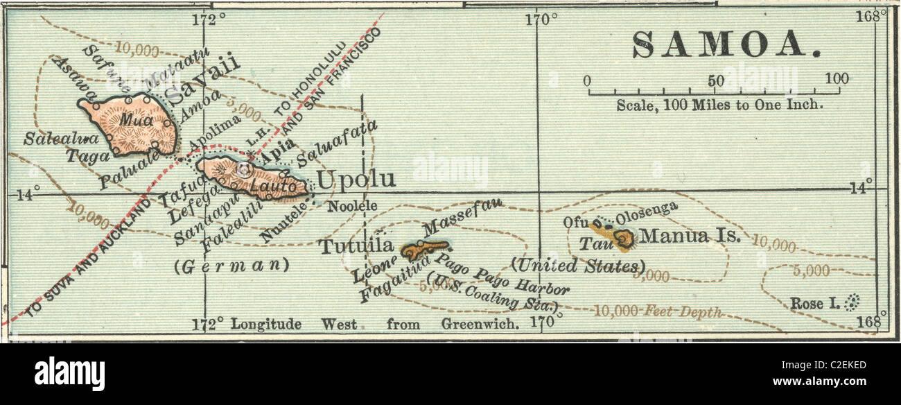map of samoa stock image