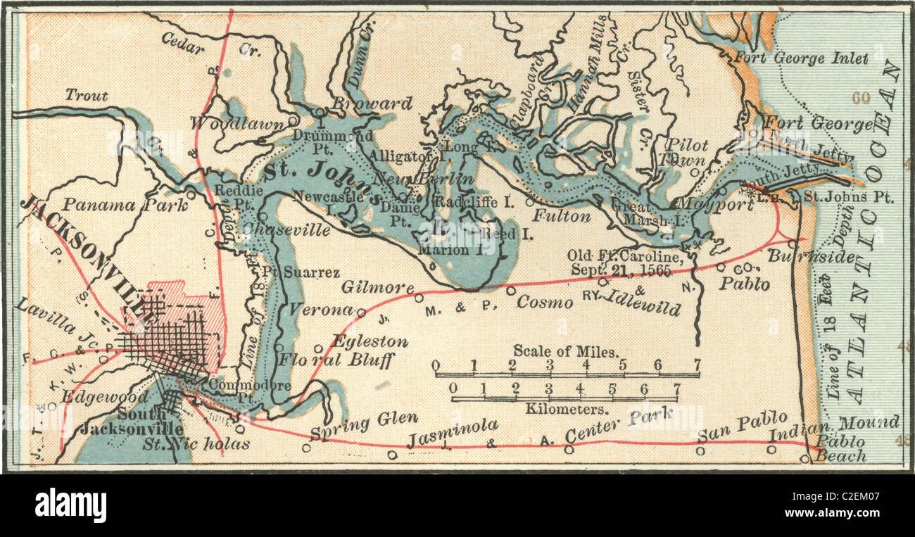 Map of Jacksonville, Florida Stock Photo: 35973063 - Alamy