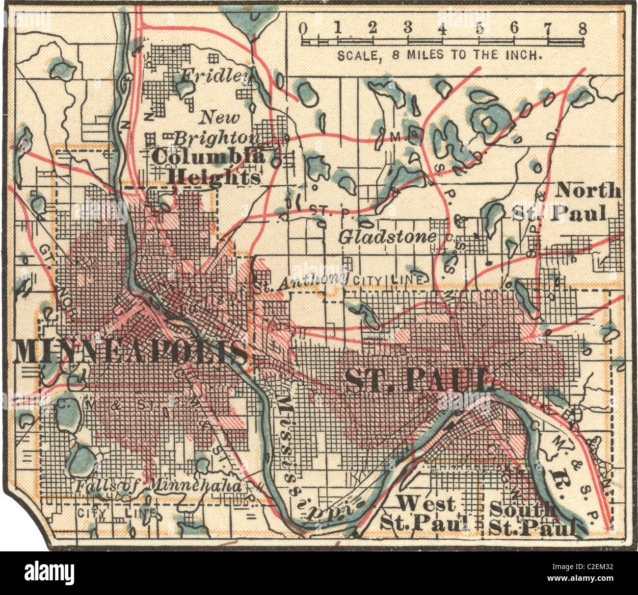 Map of Minneapolis, St. Paul and Minnesota Stock Photo: 35973142 - Alamy