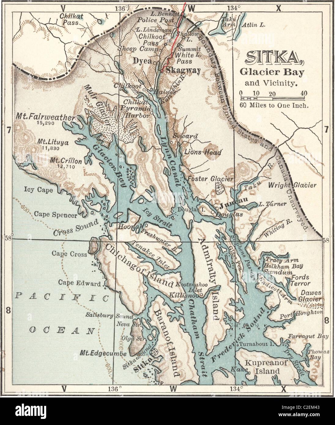 Map Of Sitka And Glacier Bay Alaska Stock Photo 35973171 Alamy