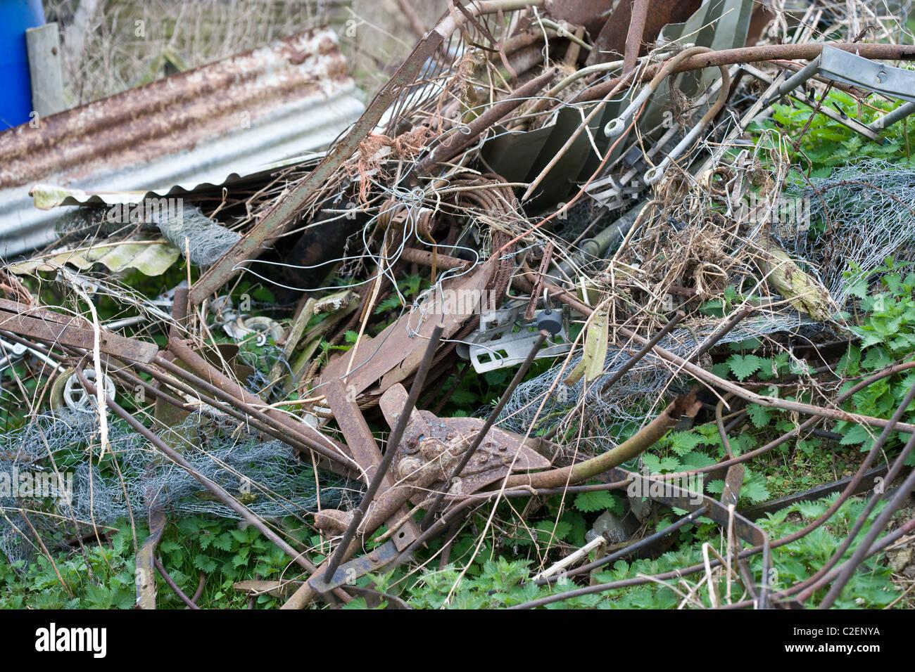 6.4.2011 Scrap metal in a farmyard. © - Stock Image
