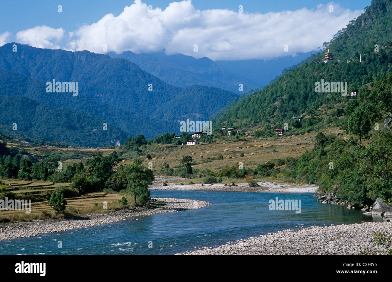 Mo Chhu River Punakha Valley Bhutan - Stock Image