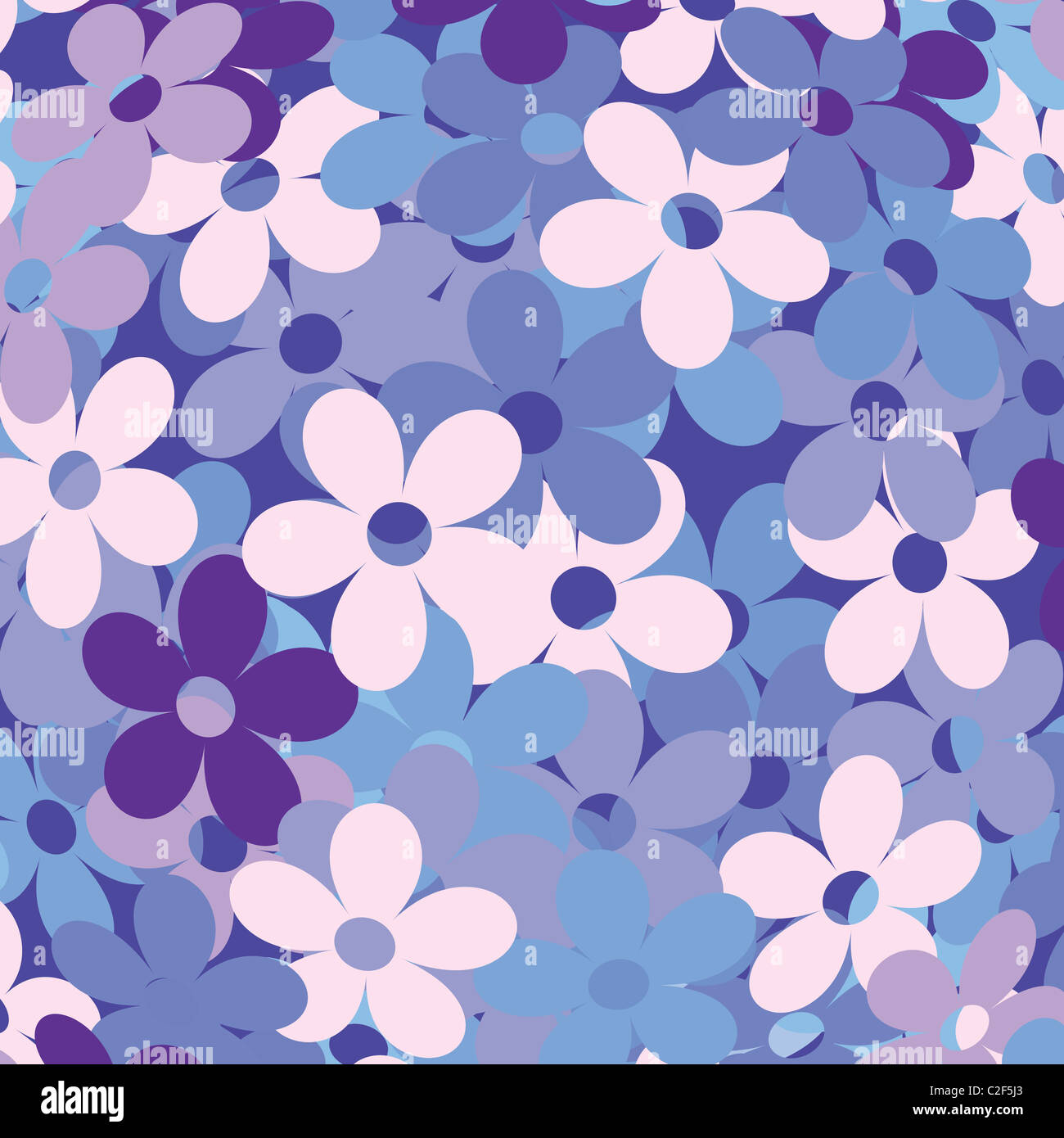 Background with flowers in blue - Stock Image