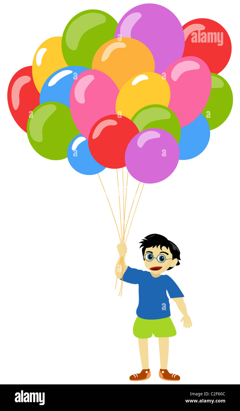 Litlle boy with baloons - Stock Image