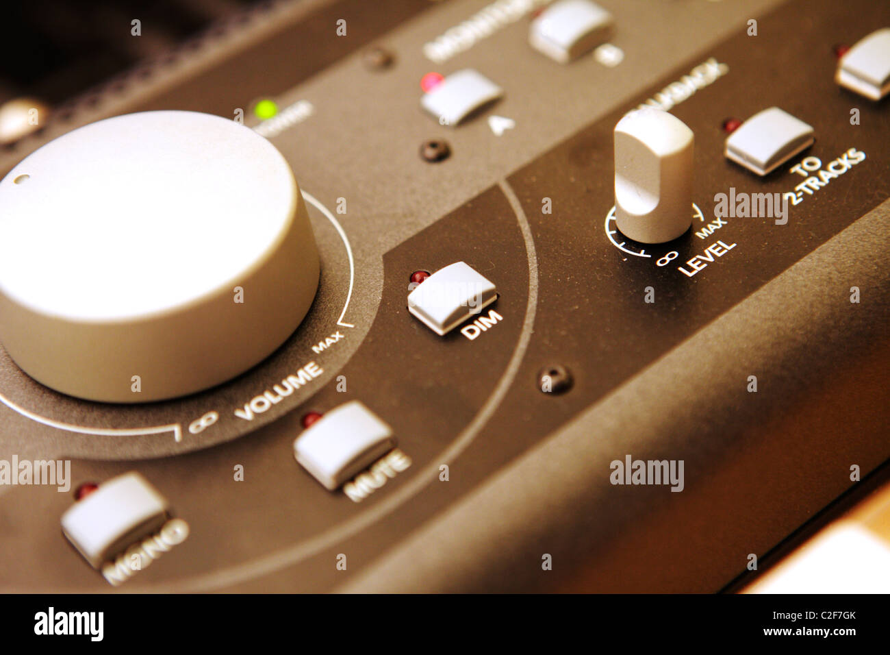Editing Equipment featuring dials, sliders and an editing keyboard. - Stock Image
