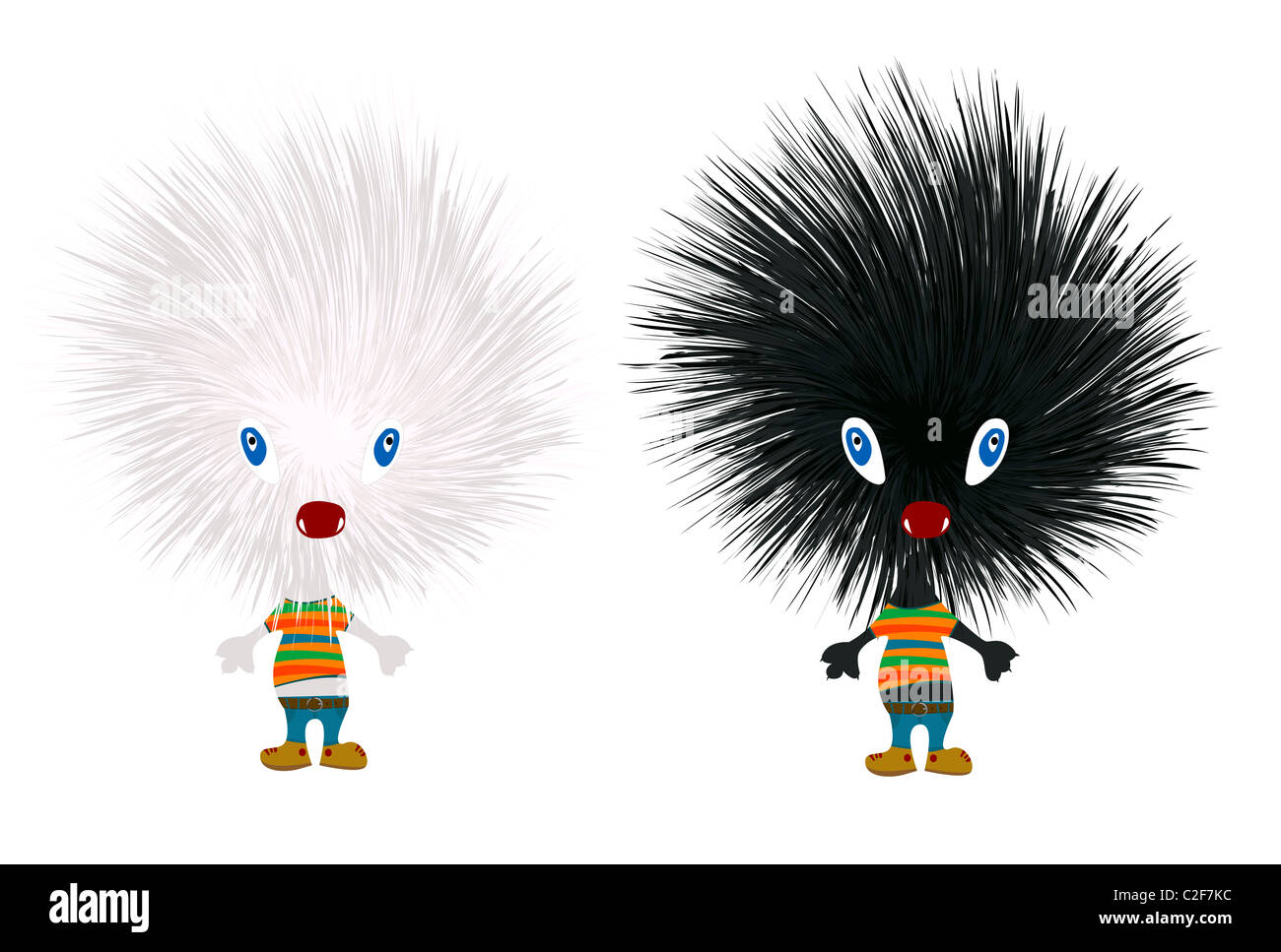 Stylized hedgehogs - Stock Image