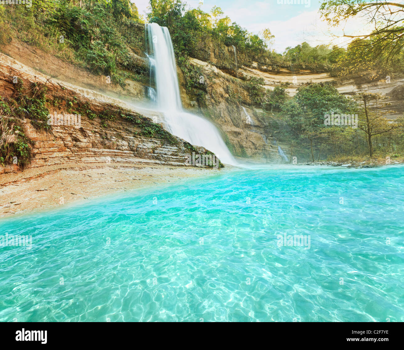 Beautiful waterfall vintage style. Bohol. Philippines - Stock Image