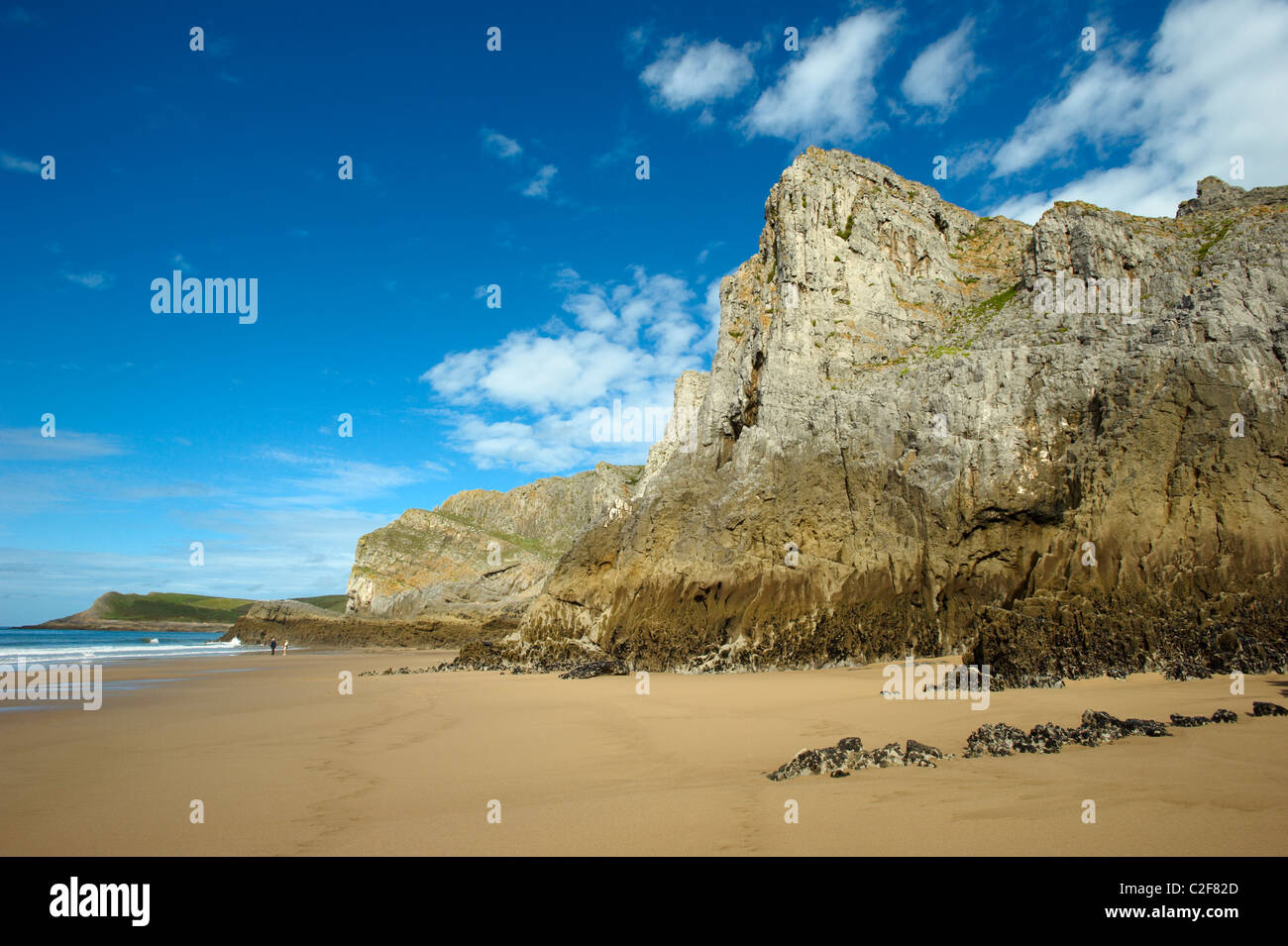 Sea cliffs, Mewslade, Gower Peninsula, Wales, UK - Stock Image