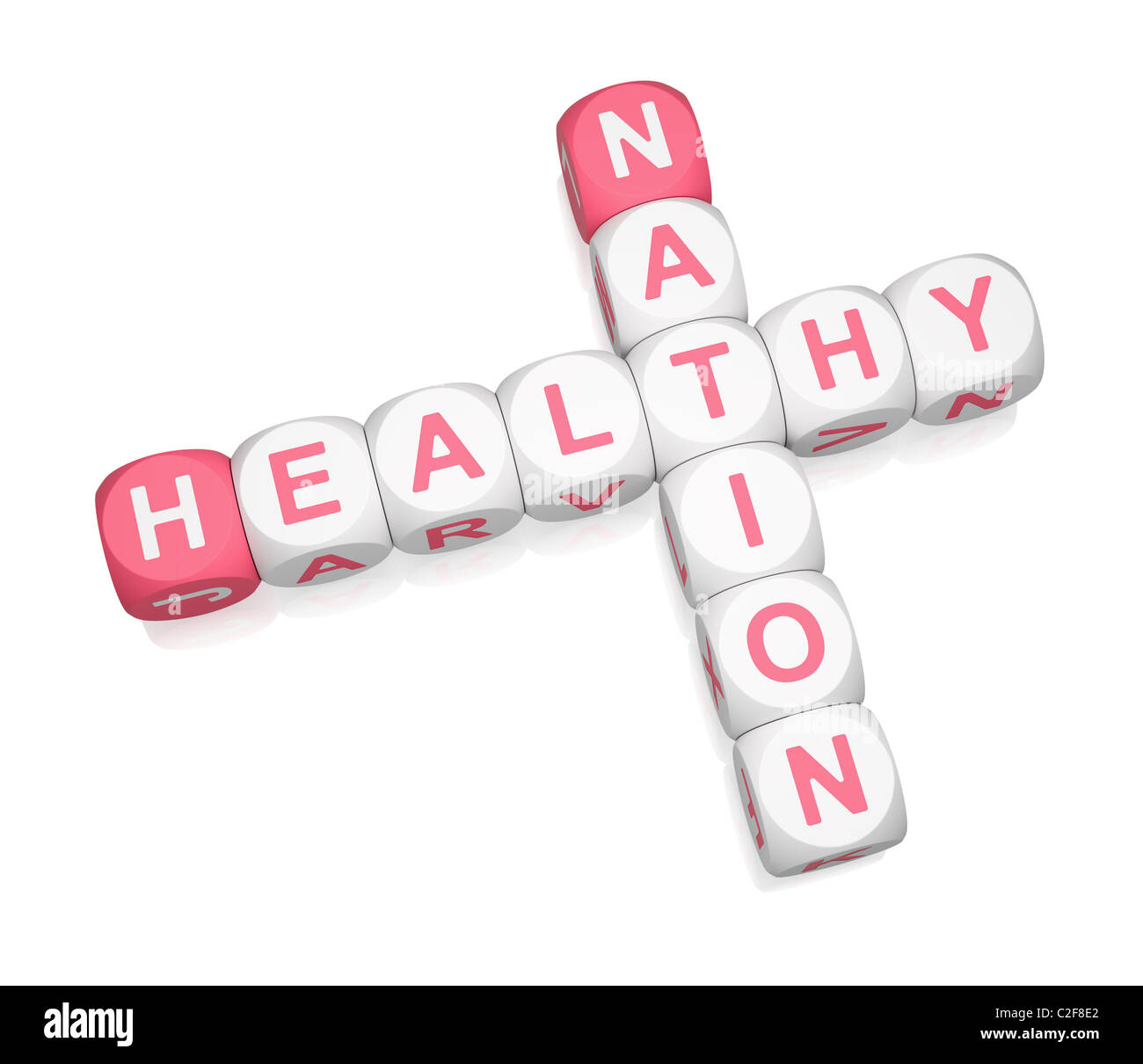 Healthy Nation crossword on white background - Stock Image