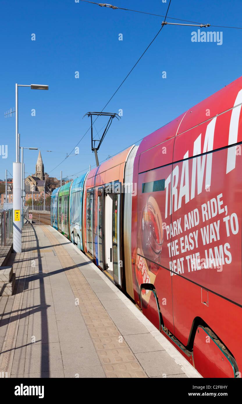 Nottingham city tram at terminus Nottingham City Centre England UK GB EU Europe - Stock Image