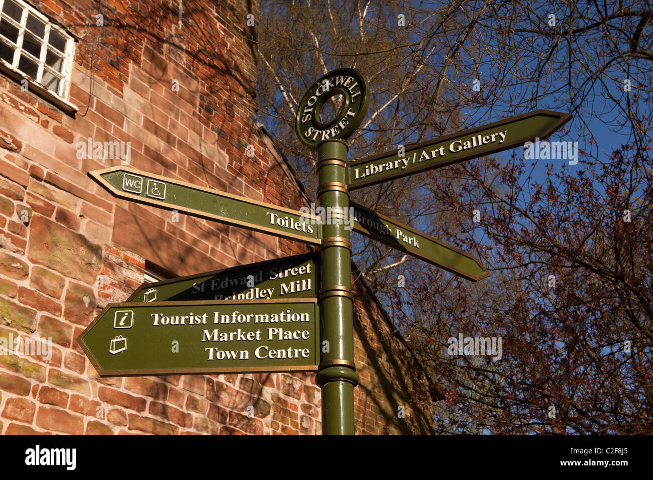 UK, England, Staffordshire, Leek, Stockwell Street, tourist information signpost indicating town centre attractions - Stock Image