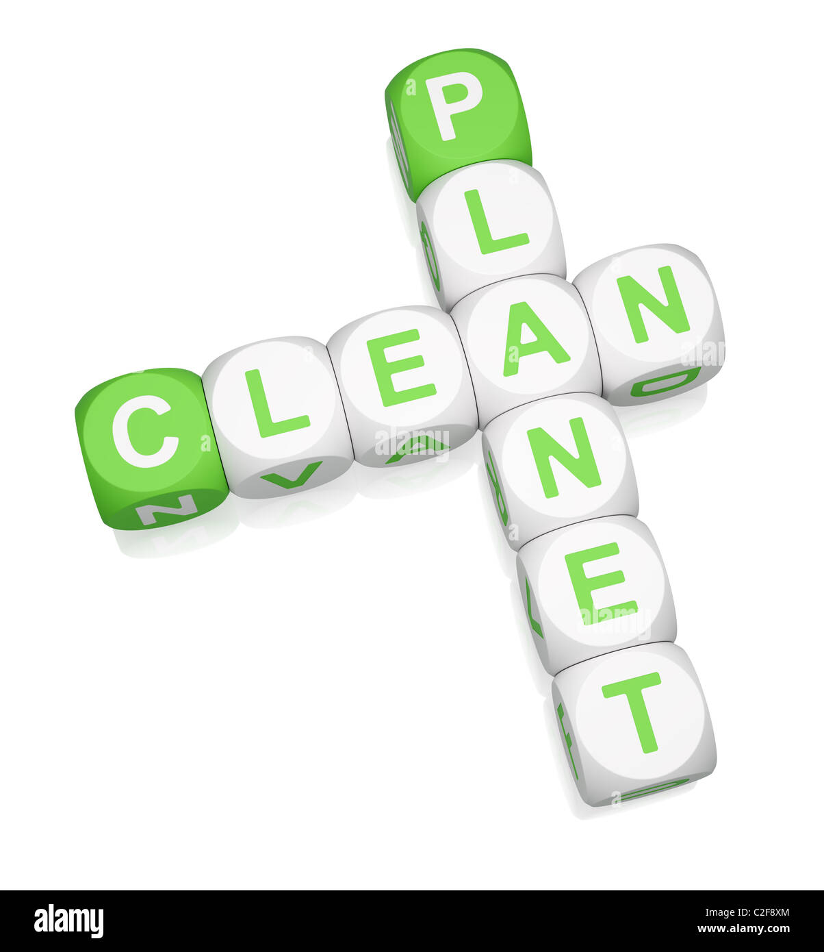 Clean Planet crossword on white background - Stock Image