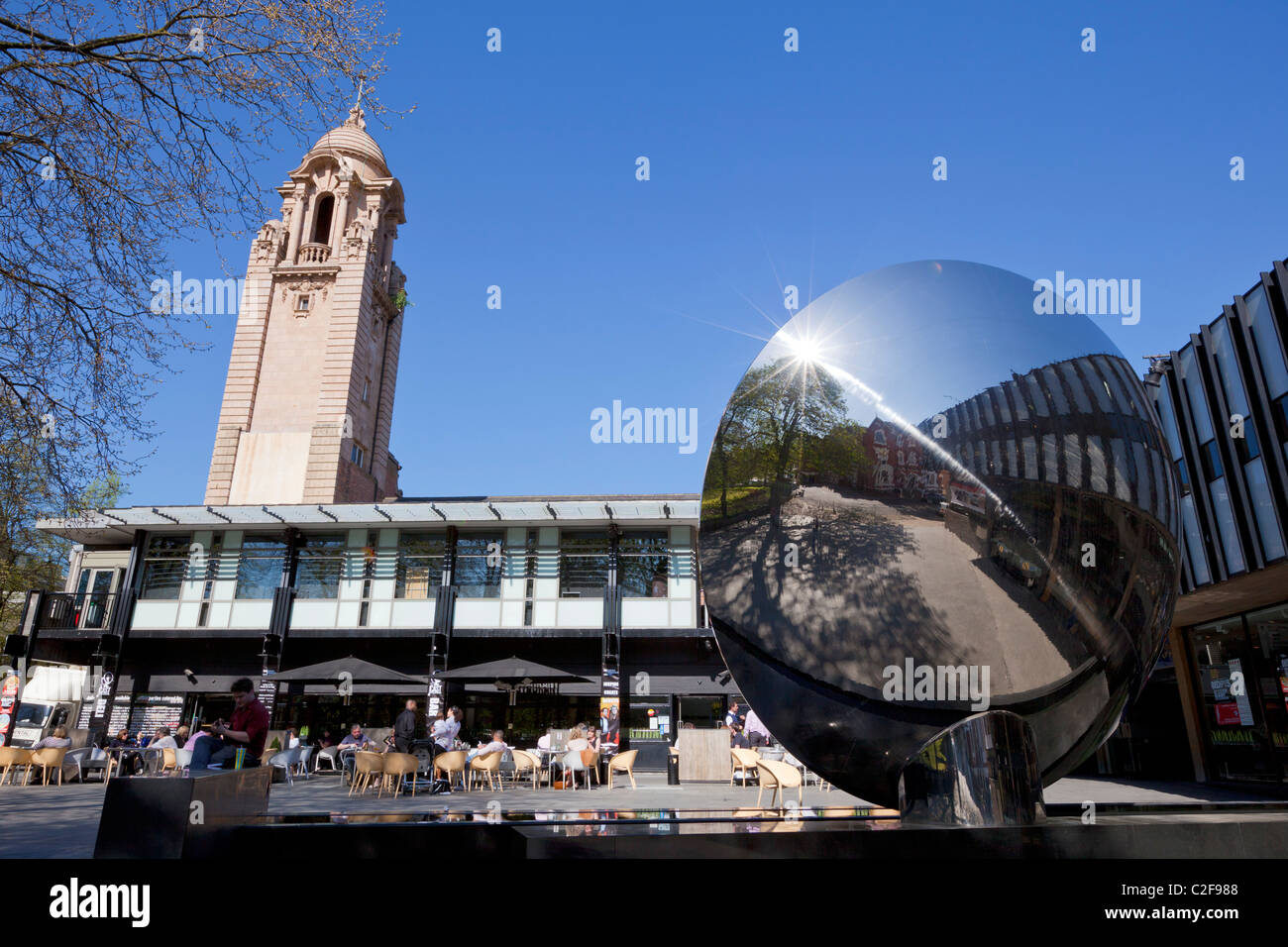 The stainless steel Sky Mirror outside the Nottingham Playhouse theatre Nottingham England GB UK EU Europe - Stock Image