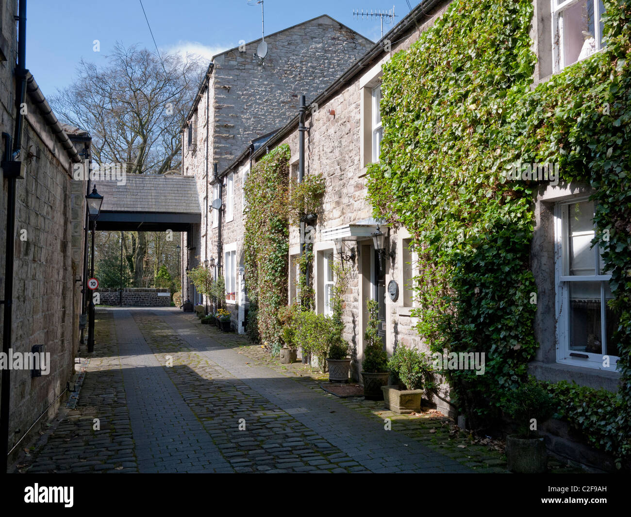 Old stone houses, Whalley Town centre, Whalley,Clitheroe, Lancashire, England, UK - Stock Image