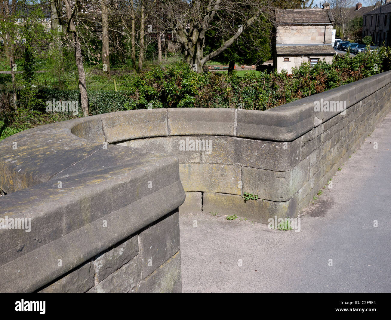 Cut outs for pedestrian use on Whalley Bridge, Whalley, Clitheroe, Lancashire, England, UK. - Stock Image