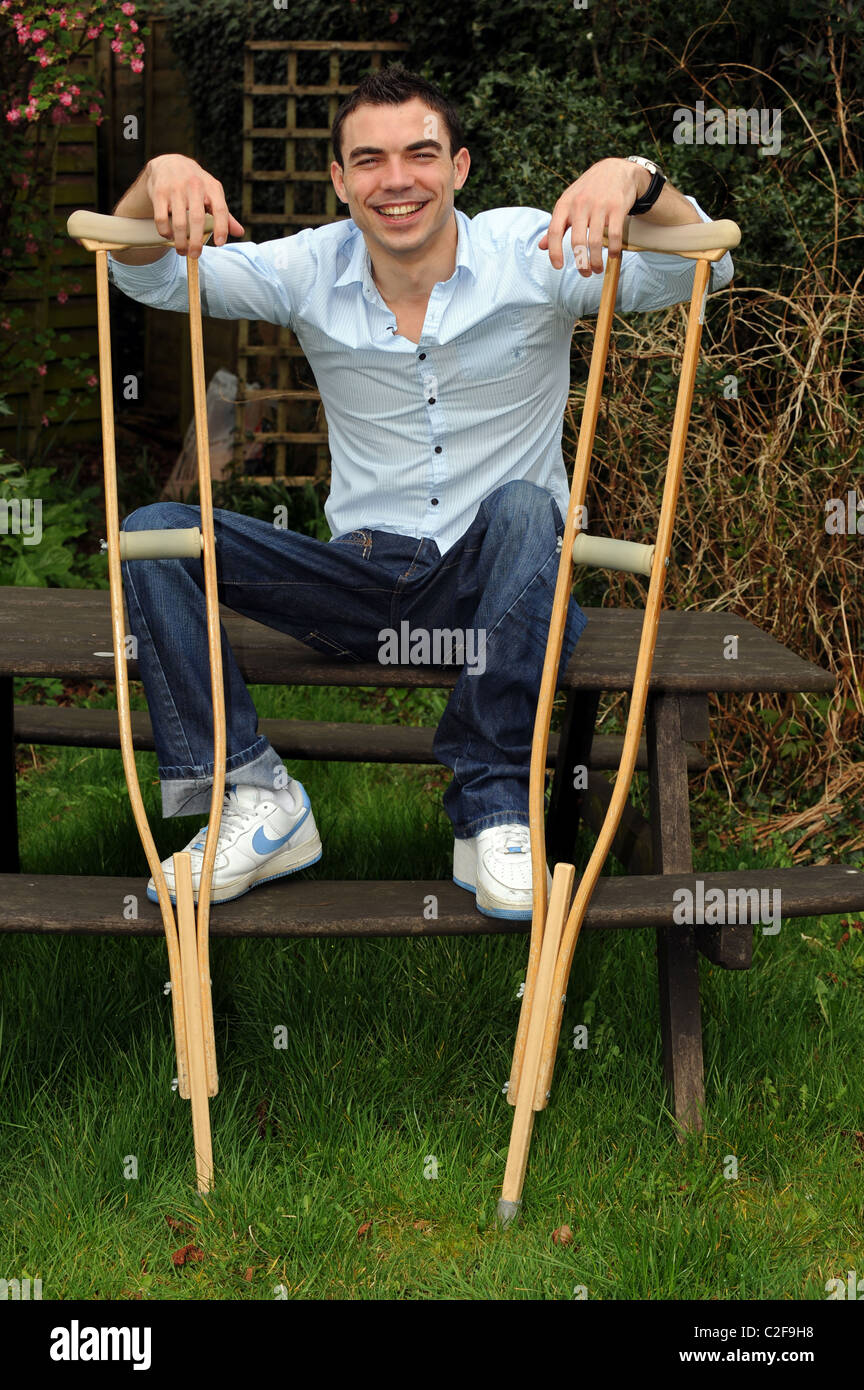 Disabled model Vas Onica, he has suffered from polio since he was a young child, pictured at his home in East Sussex - Stock Image